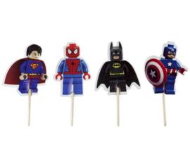 prikkers Superhelden Lego vorm  C (set van 4) - stokje naar keuze