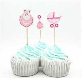 Set Geboorte B - it's a girl (3st.) - stokje naar keuze