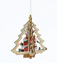 1 houten 3D kerst Hanger kerstboom