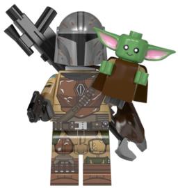 1 figuur Mandalorian + mini baby Yoda