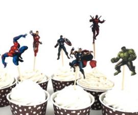 set B prikkers Superhelden  (6st.) - stokje naar keuze