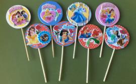 1 Topper medium met sticker Prinsessen - kleur en prikker naar keuze