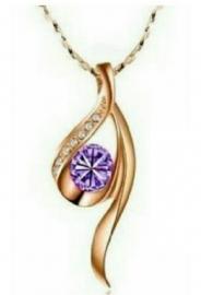 ketting roze goud verguld met met paars kristaal
