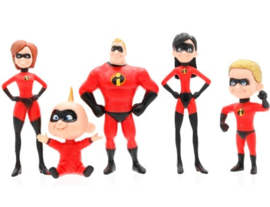 set 5 figuren The Incredibles 4-10cm met verpakking