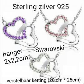 sterling zilver 925 ketting met dubbel hart hanger, kleur naar keuze