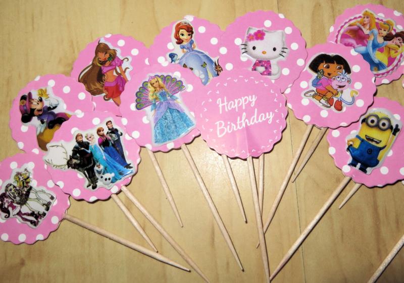 1 Topper HAPPY BIRTHDAY roze met sticker - thema en stokje naar keuze