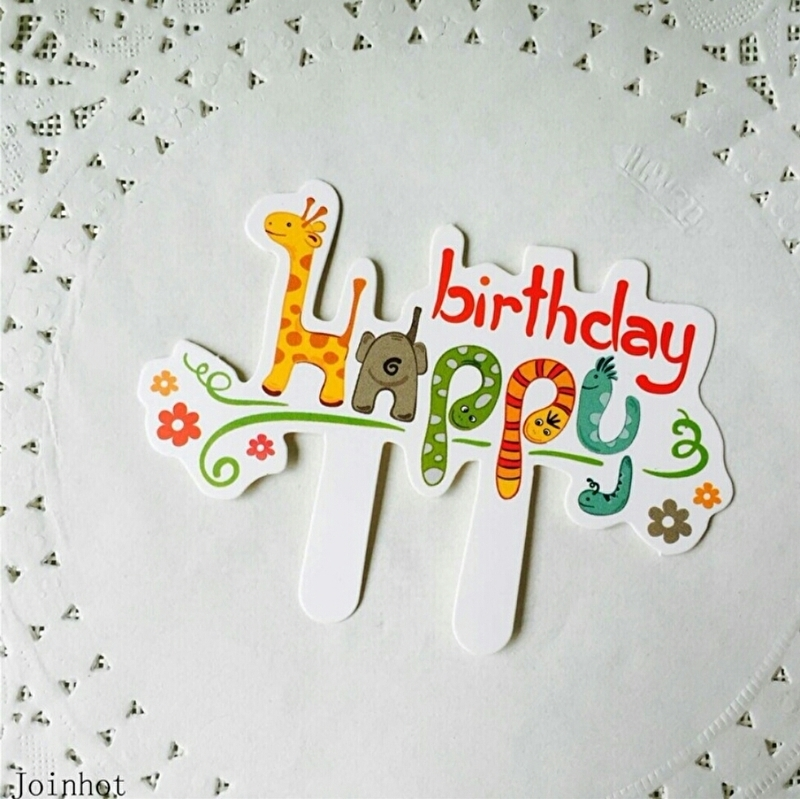 1 Taart Topper Happy Birthday 9x7cm