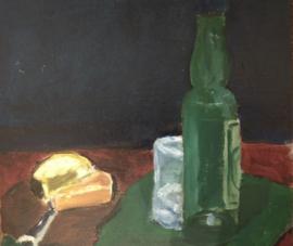 Stilleven in wording met groene fles