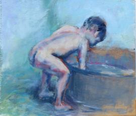 Broertje bij het bad