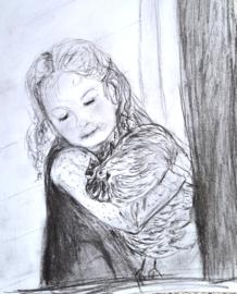 Meisje met kip in de armen. Wilma R.
