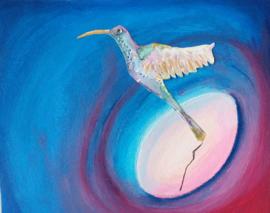 Kleuren verloop met opvliegende vogel. Nelleke