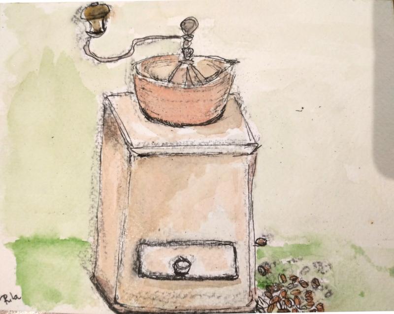 Koffiemolen met koffieboontjes Rita