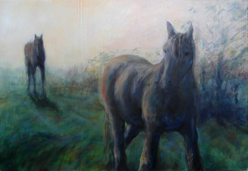 Twee Paarden in de ochtend.