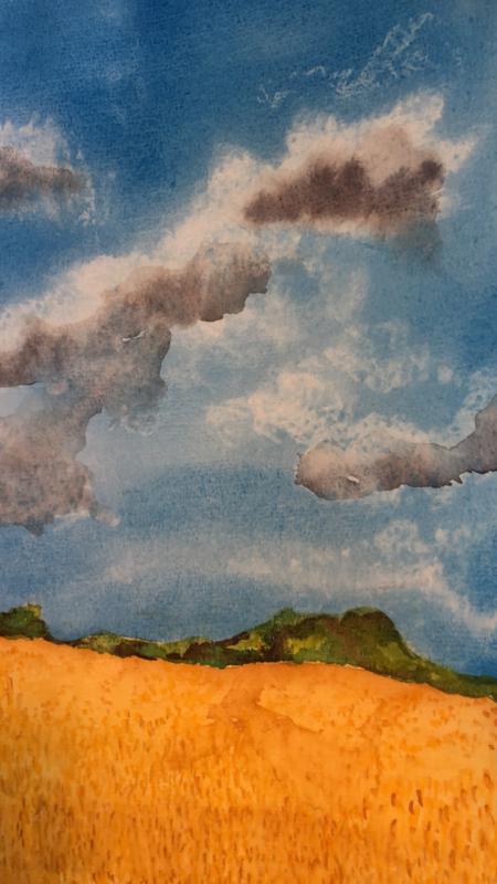 Lucht in aquarel Marjan