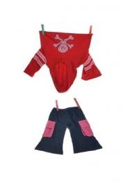 kledijset rood doodskop 65 cm W582