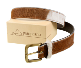 Polo belt brown & white cowhide on brown leather
