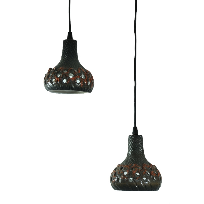 Set of 2 ceramic hanging lamps, seventies