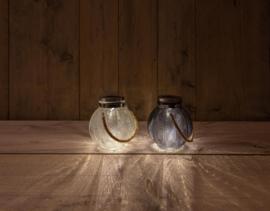 Solar tafellamp glas grijsblauw