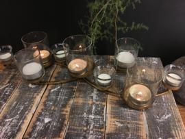 Kaarsenkandelaar 9 glaasjes Gold plated