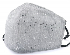 Mondkapje / Facemask glitter Silver