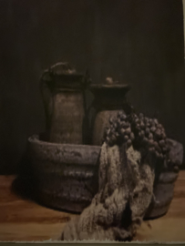 Houten paneel Nepalese kruik/ Schaal / Shabby lap
