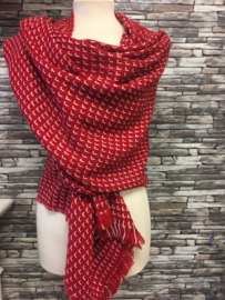 Winter shawl Grafisch Rood