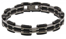 Armband Leder Stainless steel Black