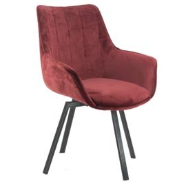 Draaibare eetkamer/bureau stoel Red velvet