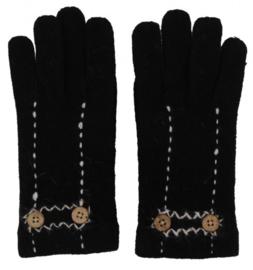 Wollen dames handschoenen Black met knoopjes
