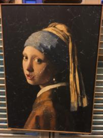Schilderij op hout Meisje met de Parel