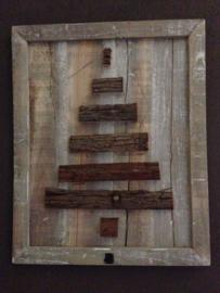 Houten Kerstboom schilderij