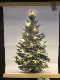 Canvas Kerstboom met led lampjes