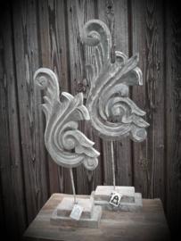 Houten ornament Grey Wash S