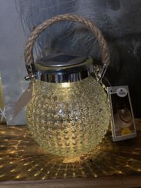 Solar tafellampje wit bubbelglas