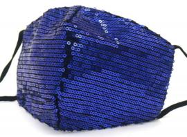 Mondkapje / Facemask glitter bleu