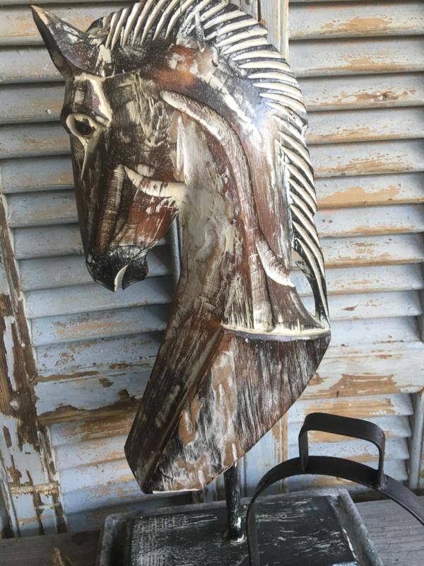 Houten paardenhoofd ornament L