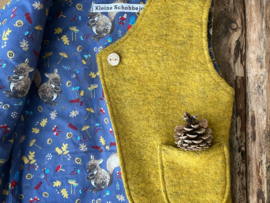 Wool vest Ocher Yellow/ Blue Squirrels 110/116