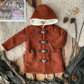 Wool Winter Coat Round Hood Autumn Leaf