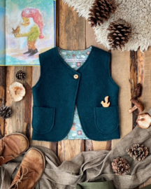 Wool Vest Dark Green Botanical Size 98/104