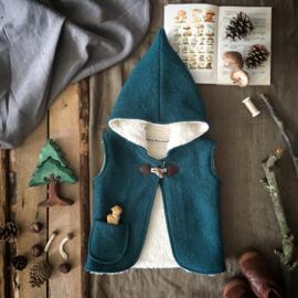 Wool Hooded Vest Petrol