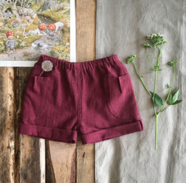 Stone Washed Linen Short Burgundy