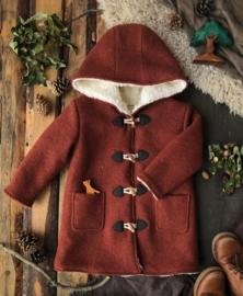 Wool Winter Coat Round Hood Terracotta