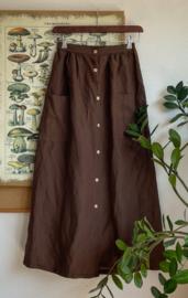 Maxi Skirt Linen Coffee Brown