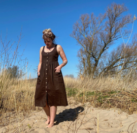 Spring / Summer Dress Linen Coffee Brown