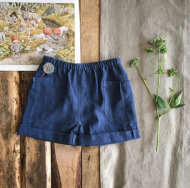 Stone Washed Linen Short Blue