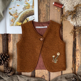 Wool Vest Brown Embroidery 86/92