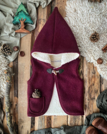 Wool Hooded Vest Plum
