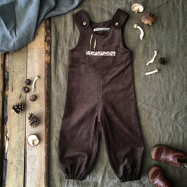 Jumpsuit Corduroy Brown Flowers 98/104