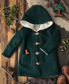 Wool Winter Coat Round Hood Forest Green