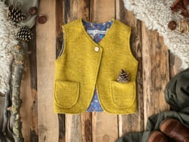 Wool vest Ocher Yellow/ Blue Squirrels 134/140